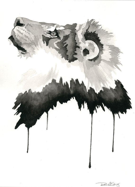 Lion Watercolor Contemporary Painting Black And By Sprystudios