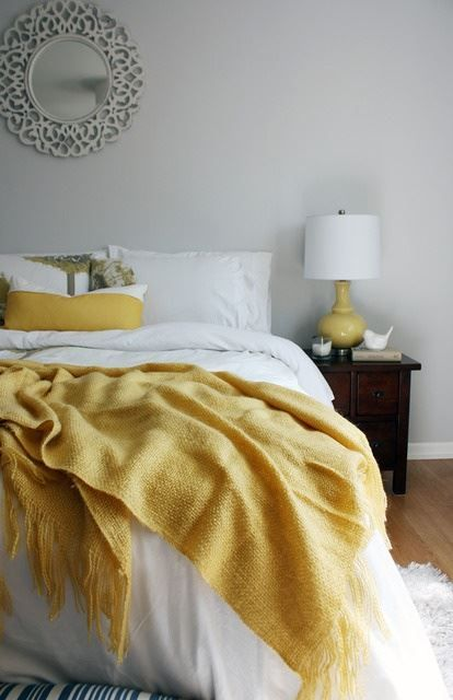 Wood Bed Frame Yellow Throw Blanket White Bed Set Pastel Yellow White Beige Grey Pillows Yellow Room Yellow Bedroom Yellow Bedding