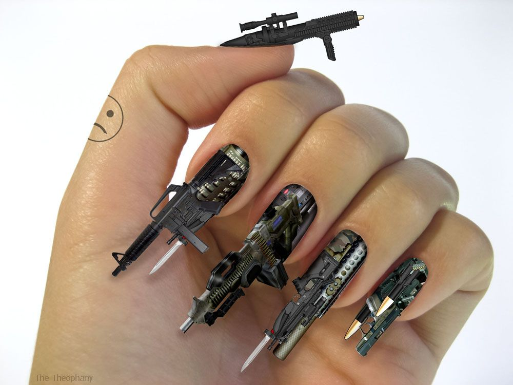 That might be the coolest nail art ever. 3D-Firearm-Weapon ...