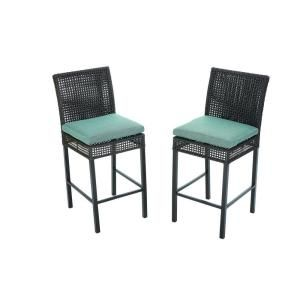 Hampton Bay Fenton Patio High Dining Chair With Pea And Java Cushion 2 Pack
