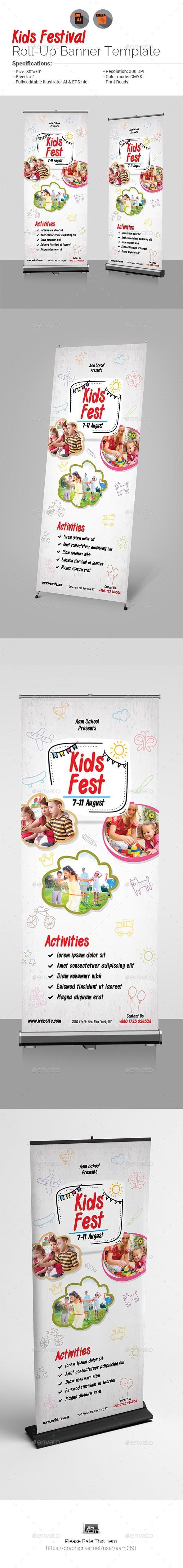 Kids Fest Roll-Up Banner #SignageTemplates #SignageDesign #GraphicResources #Pri...