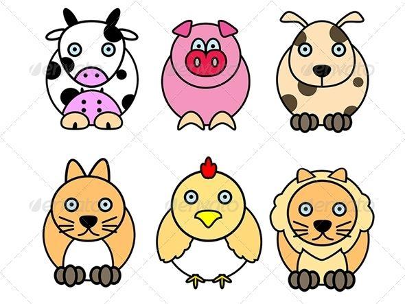 Set Of Animal Cartoons
