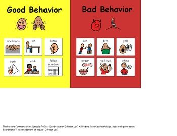 good behaviorbad behavior visual great for children