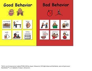 Good Behavior/Bad Behavior Visual - great for children with autism