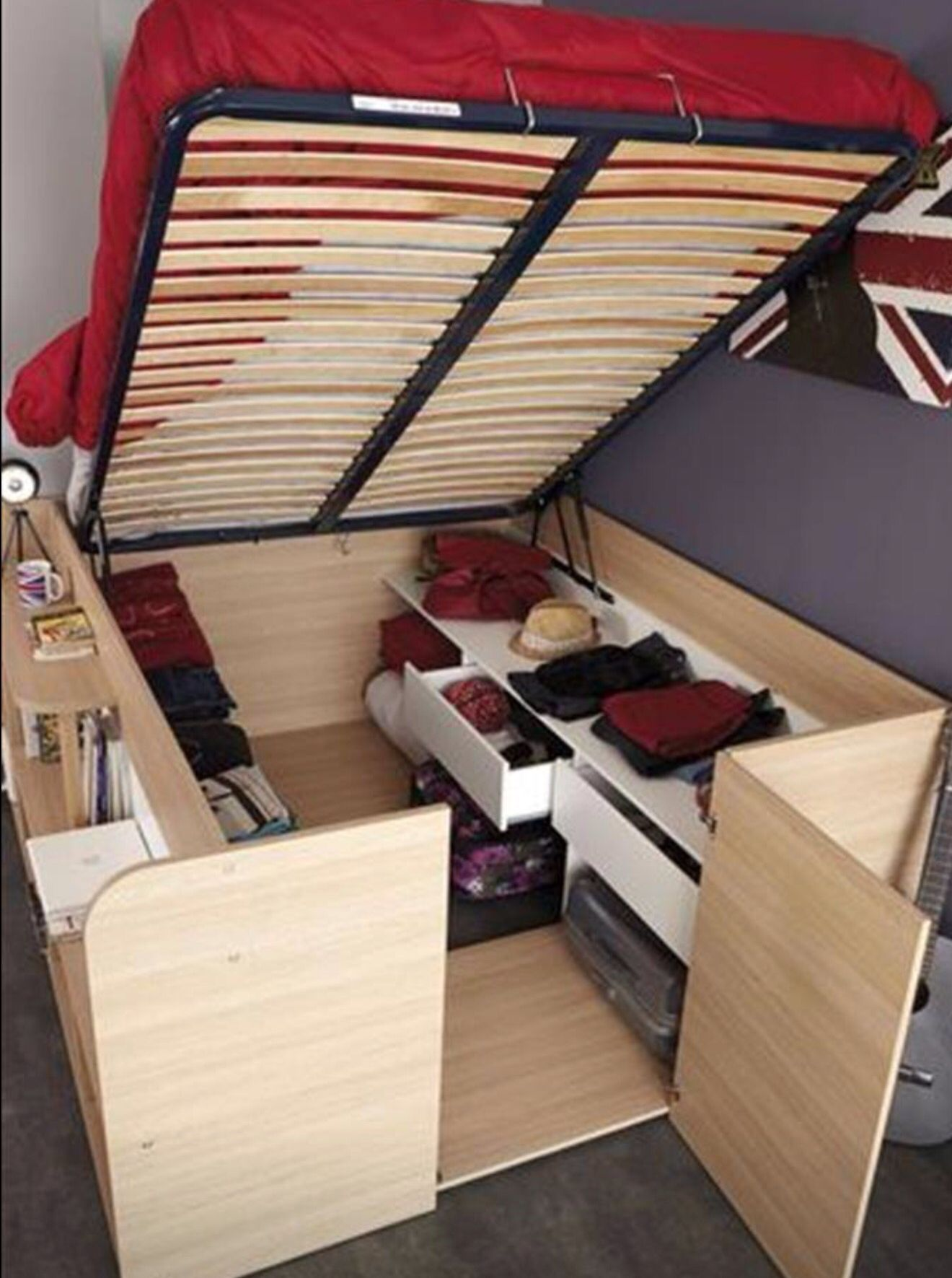 Cool Idea For Extra Storage Space In A Smaller Room Tiny House Storage Space Saving Furniture Small Spaces