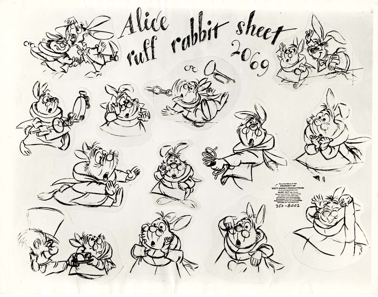Picture Book Character Design : Vintage disney alice in wonderland animation model sheet