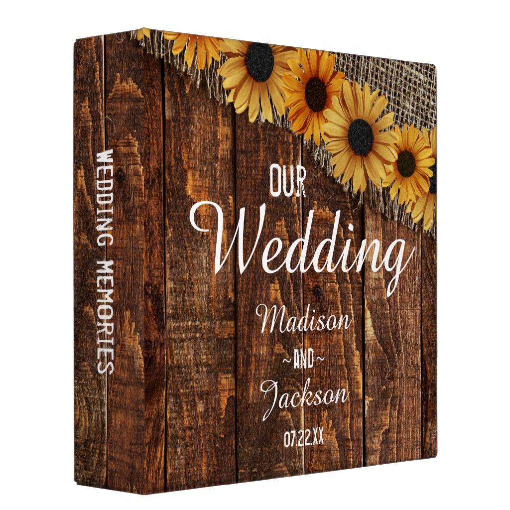 Photo of Rustic Wood & Burlap Sunflower Wedding Photo Album 3 Ring Binder | Zazzle.com