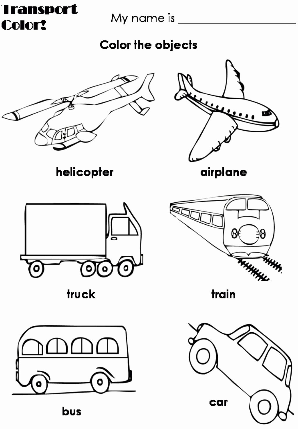 Transportation Coloring Pages For Preschool In