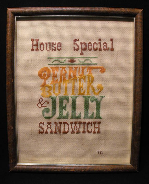 Vintage Hand Crafted Framed Cross Stitch Wall Sign: \
