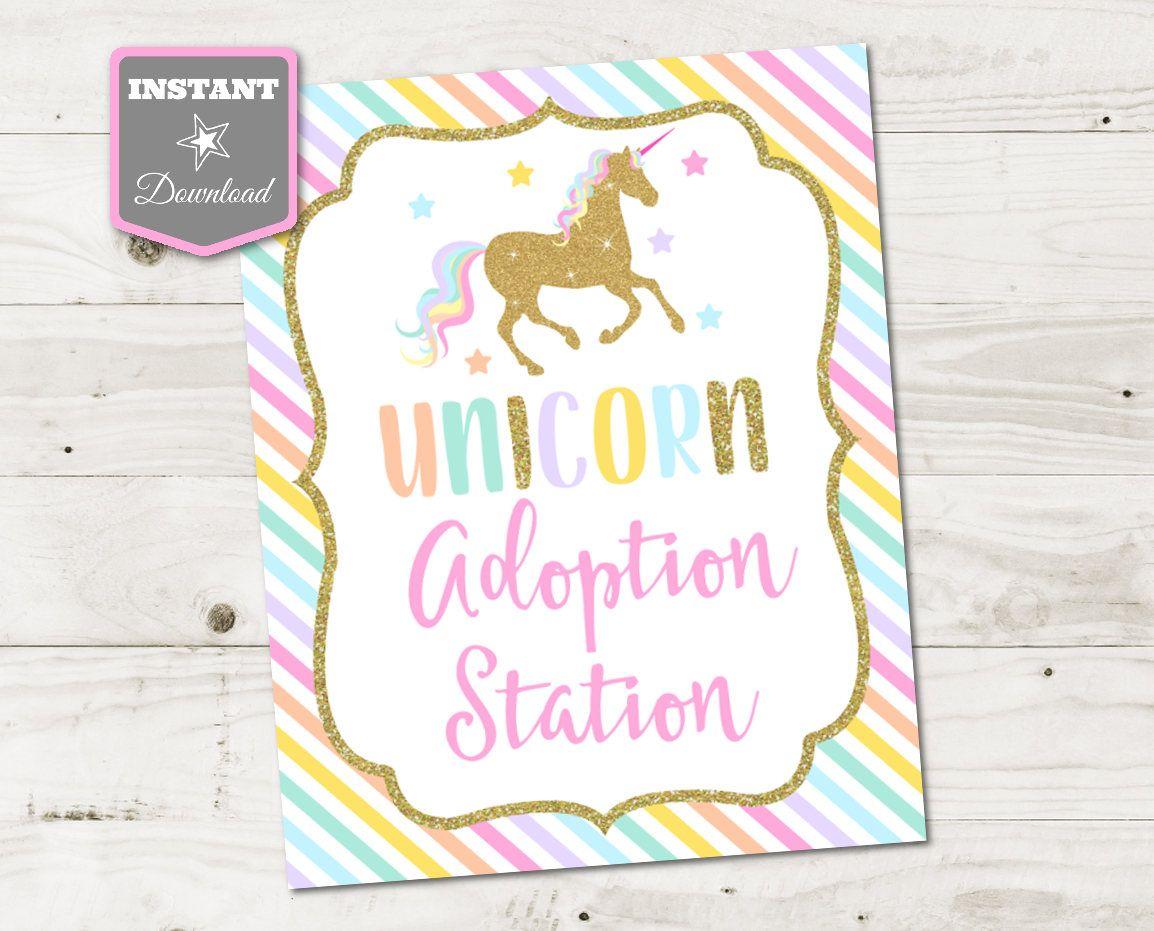 Instant Download Unicorn Printable 8x10 Adoption Station Sign Etsy In 2021 Unicorn Baby Shower Unicorn Party Unicorn Printable