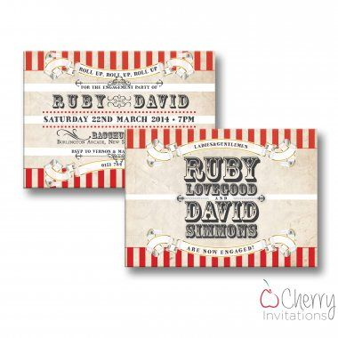 Traditional Circus Themed Double Sided Personalised Engagement - engagement party invitations free