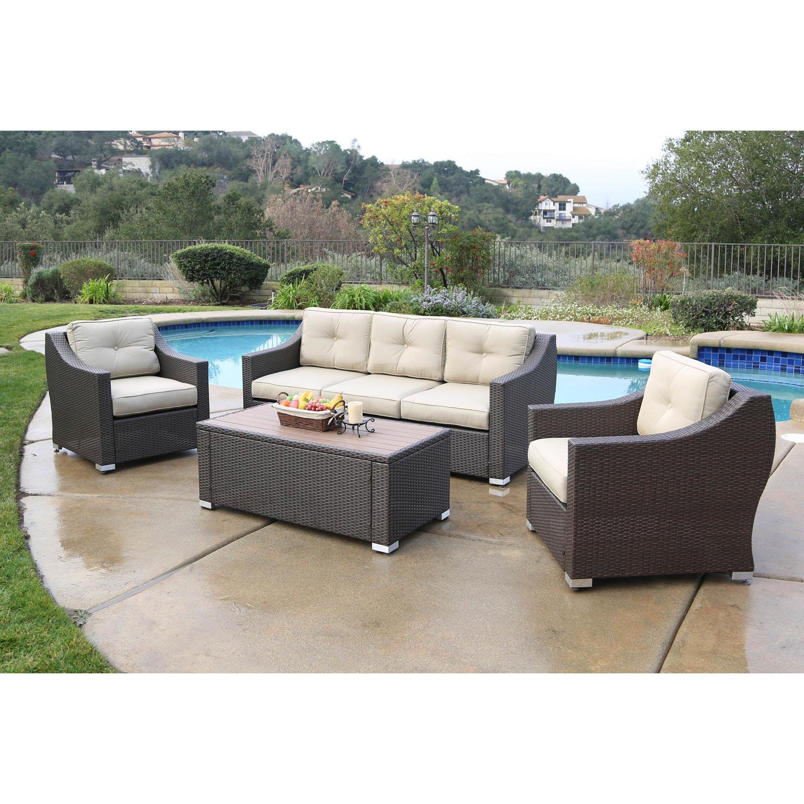 Outdoor Jj Designs South Beach Wicker 4 Piece Deep Seating Sofa
