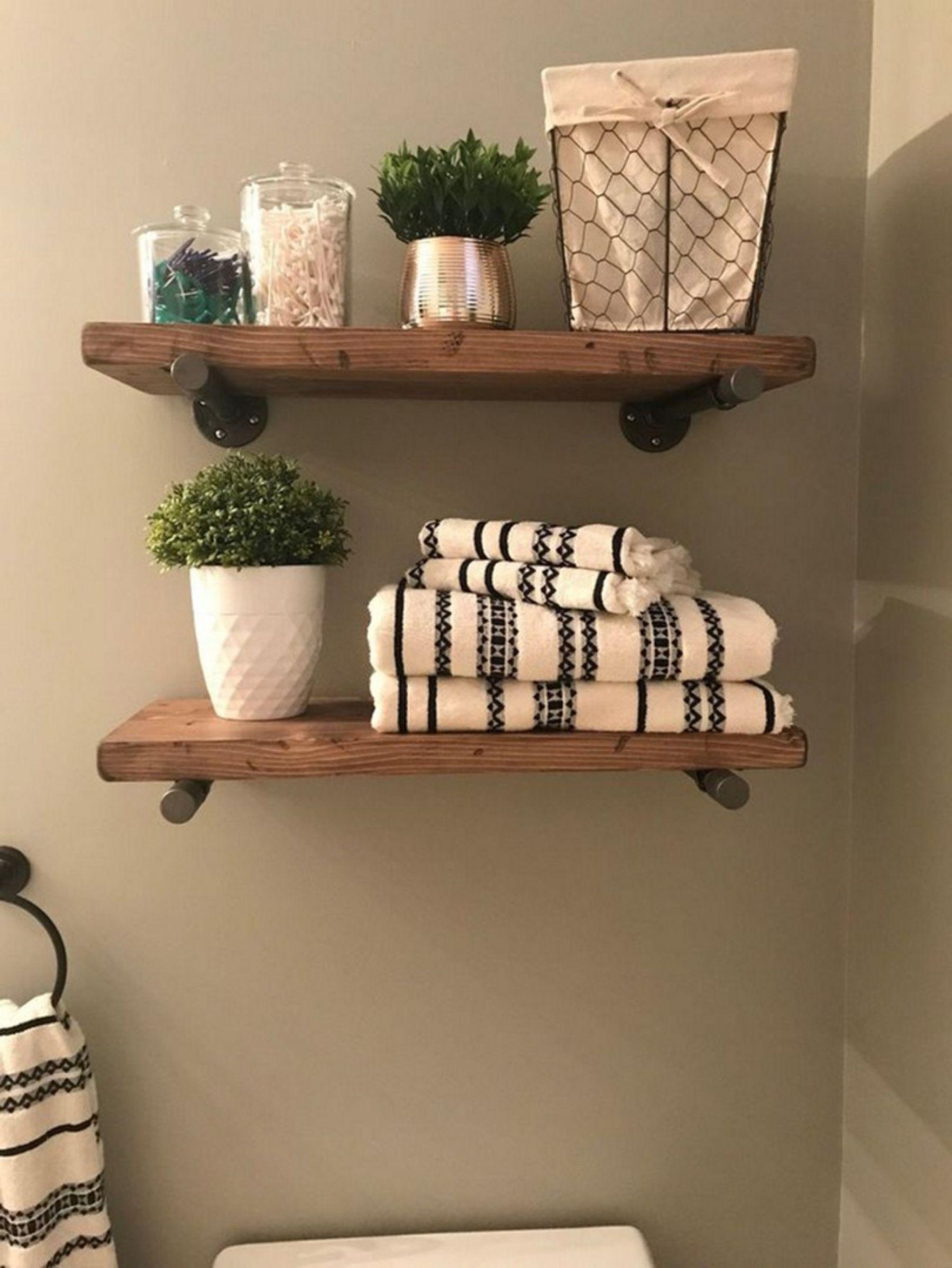 10 Simple And Cheap Diy Wooden Shelf Design Ideas For Your Bathroom Comfort Farmhouse Bathroom Decor Floating Shelves Diy Home Decor