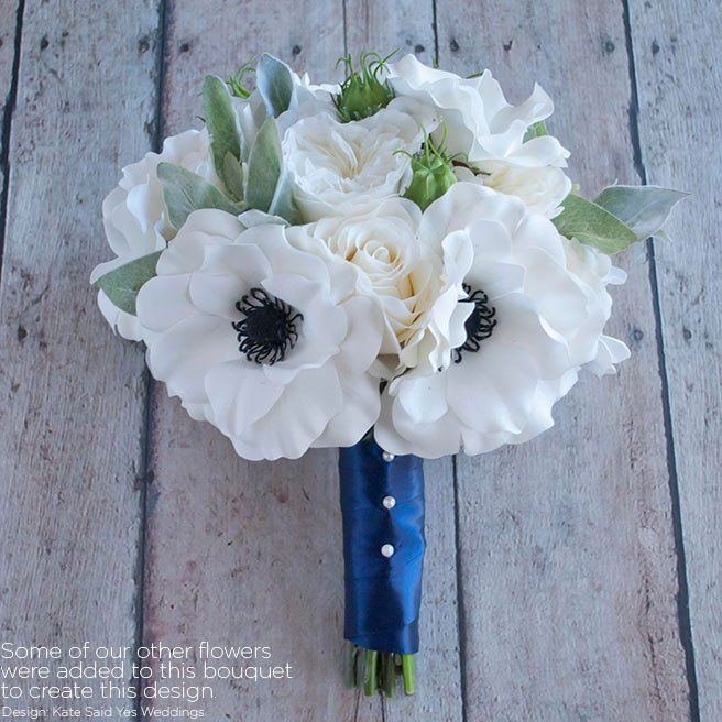 Soft touch anemone bouquet in white with black centersbr10 tall soft touch anemone bouquet in white with black mightylinksfo