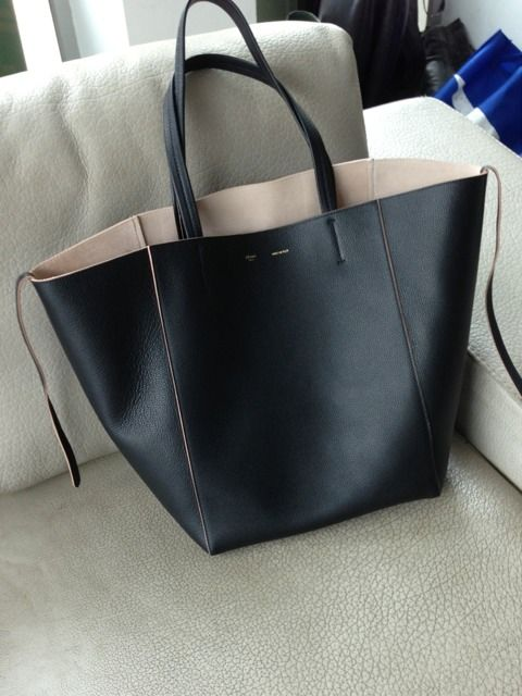 0fd64aabc803 Celine cabas phantom in black calf blush