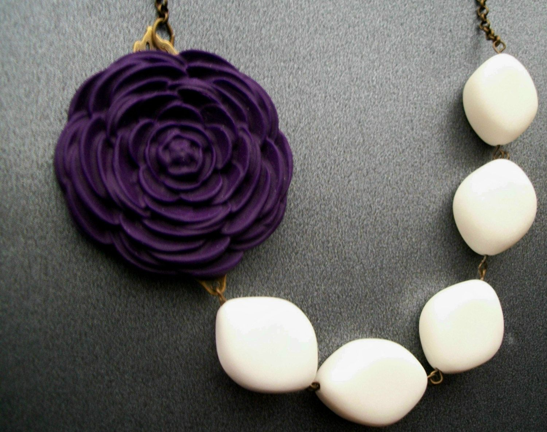 White Stone Necklace,Purple Necklace,Eggplant,Statement
