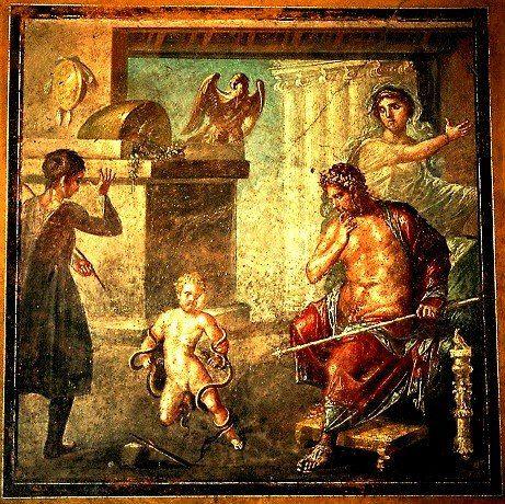 Ercole bambino che strangola i serpenti - affresco, Pompei - Casa - gardine für küche