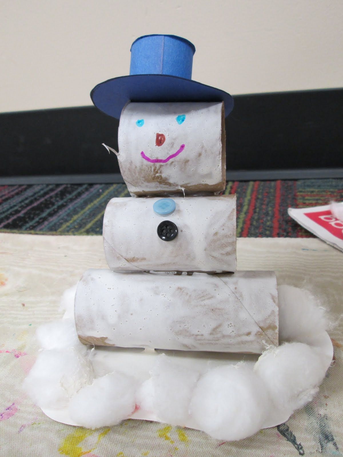 Snowman Craft With Toilet Paper Rolls