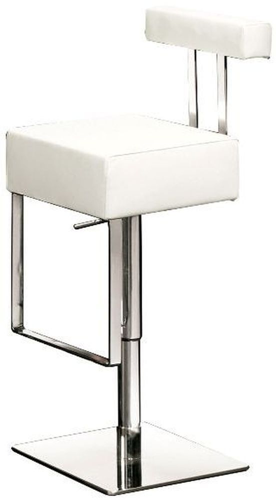 Sam White Leather Bar Stool With Chrome Base