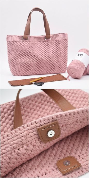 Shopper With Leather Bottom Bag Crochet