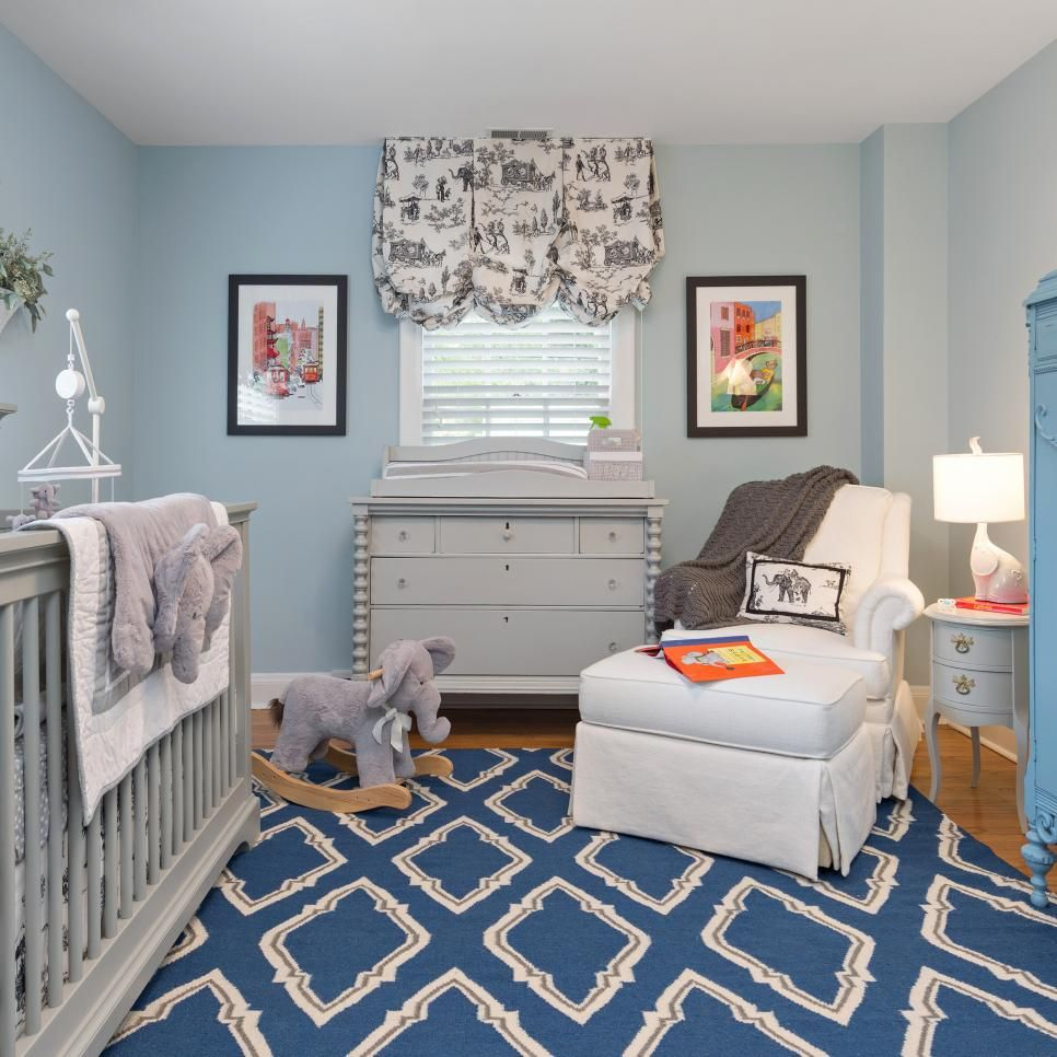 Light blue walls are a classic touch to this baby boy 39 s for Best carpet for baby nursery