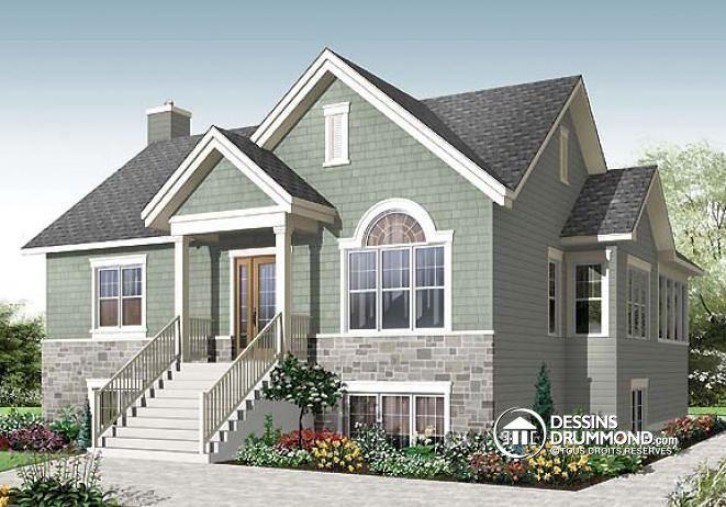 W3117-V1 - Prix abordable, maison style moderne rustique, 4 chambres - dessiner une maison en 3d
