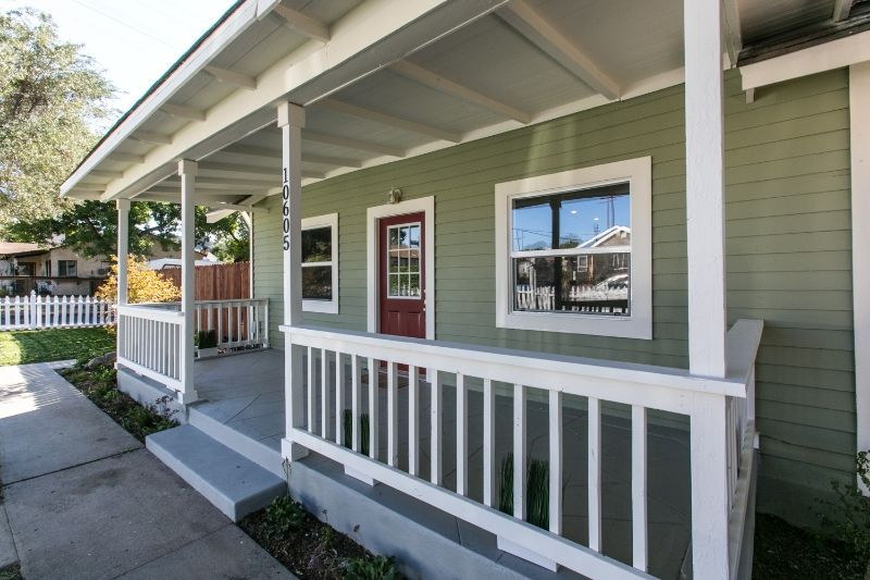 Nassau Project. Lovely Craftsman style green home with great porch & white railing. Ranch home.    #RealEstate #HouseFlipping #California #Sunland #Tujunga #Duplex  www.verono.com/nassau