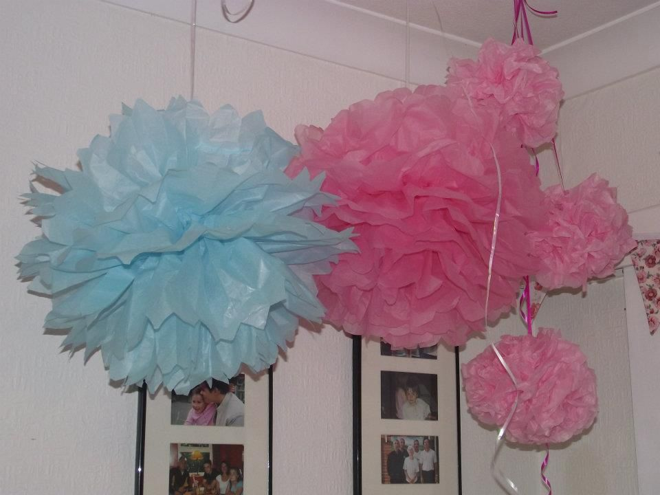 Tissue pom poms made by me