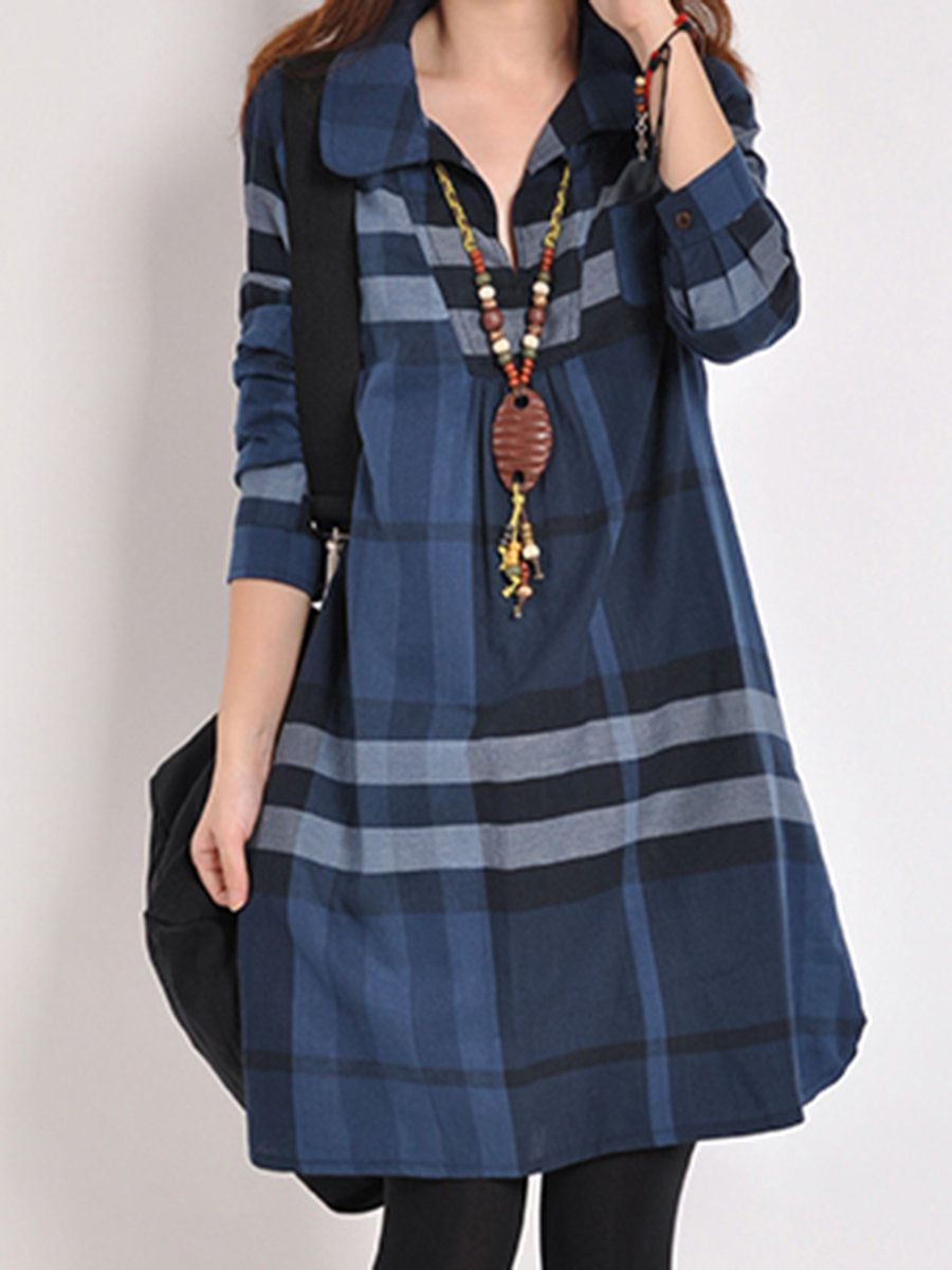 dd7a6a699eca8 Shop Casual Dresses - Shirt Collar Checkered Plaid Swedish website-Casual  Long Sleeve Cotton Casual Dress online. Discover unique designers fashion  at ...