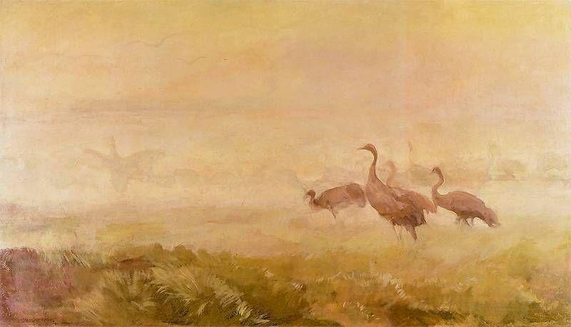 Żurawie o poranku~1913, Józef Chełmoński