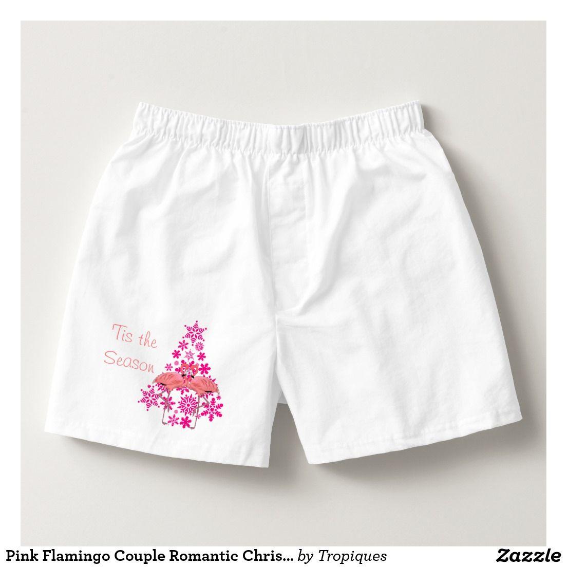 f47b4748a276 Pink Flamingo Couple Romantic Christmas Boxers | Zazzle.com ...