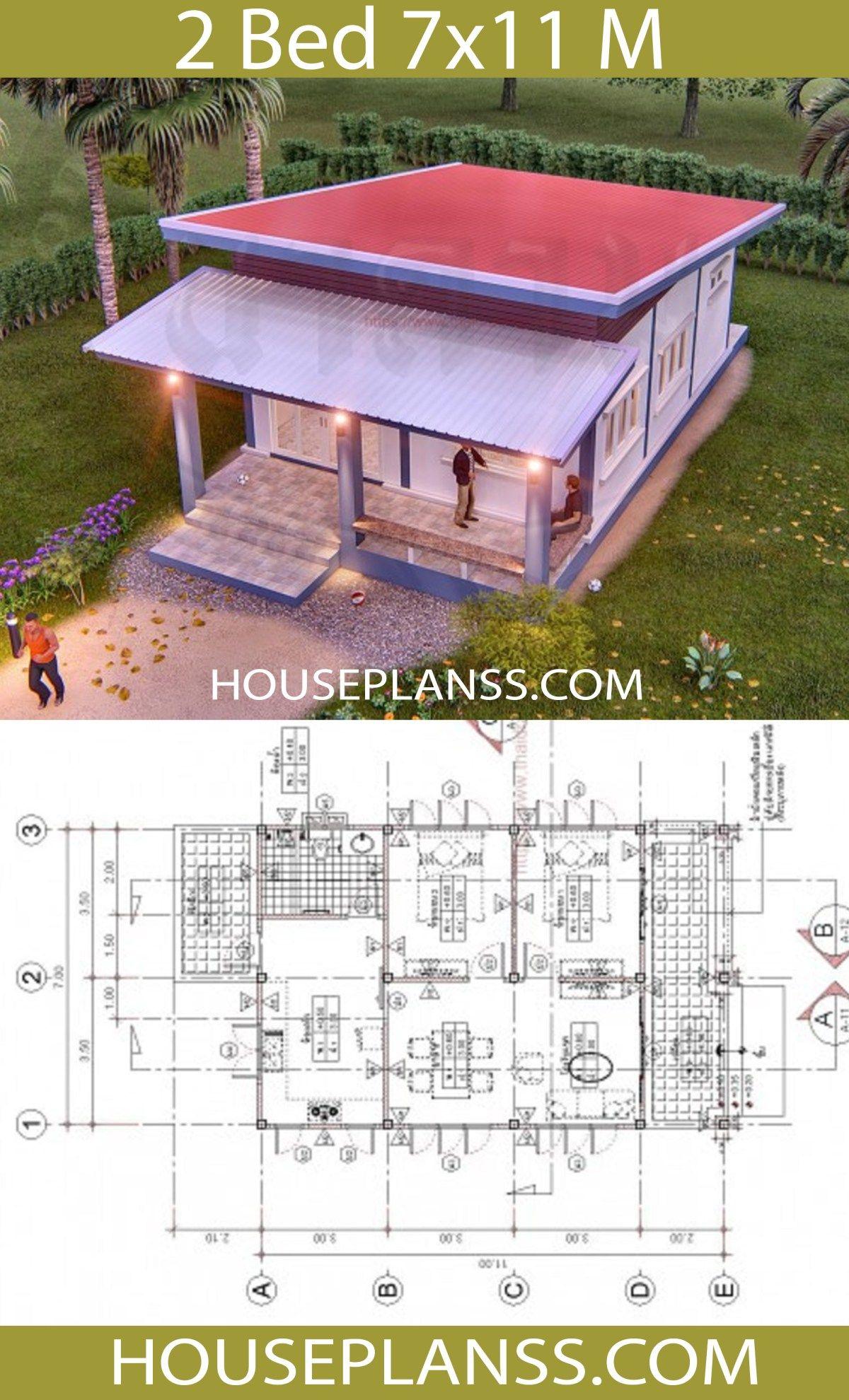 House Plans Idea 7x11 With 2 Bedrooms House Plans 3d House Construction Plan Bedroom House Plans House Plans