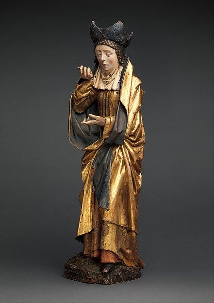 South Netherlandish. Holy Woman, ca. 1480. Walnut, polychromy and gilding. Dimensions: Overall: 19 5/16 x 5 5/8 x 4 13/16 in. (49 x 14.3 x 12.3 cm). Public Domain.