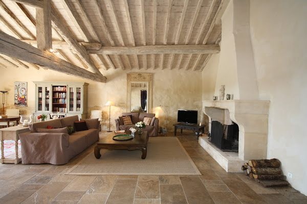 Large Beamed Sitting Room In Provence With Traditional French