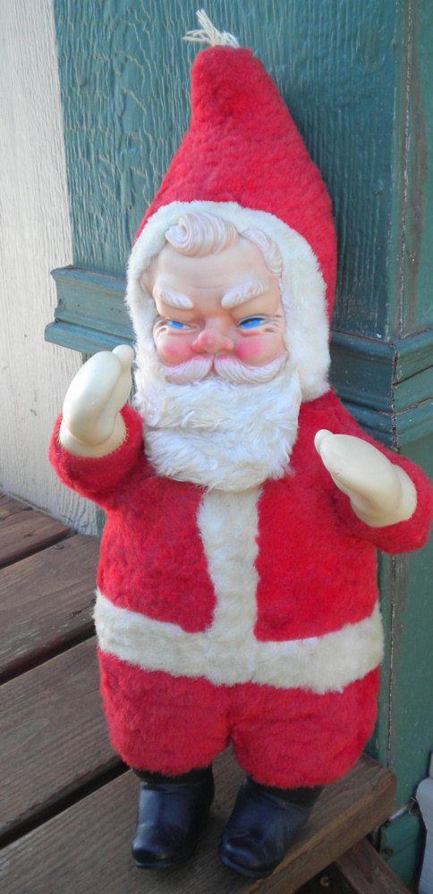 1960s Plush And Vinyl Santa Doll Vintage Toy Or Christmas Santa Claus Display Item Santa Doll Vintage Christmas Decorations Vintage Santas