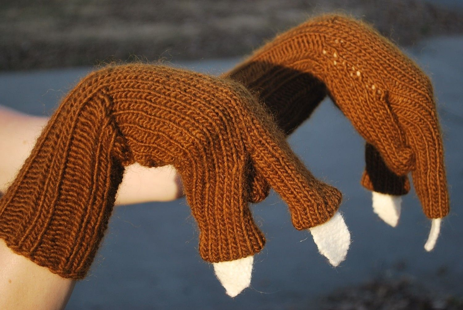 Knit Brown T-Rex Gloves or Mittens with Cream White Claws for Children (Boys ...