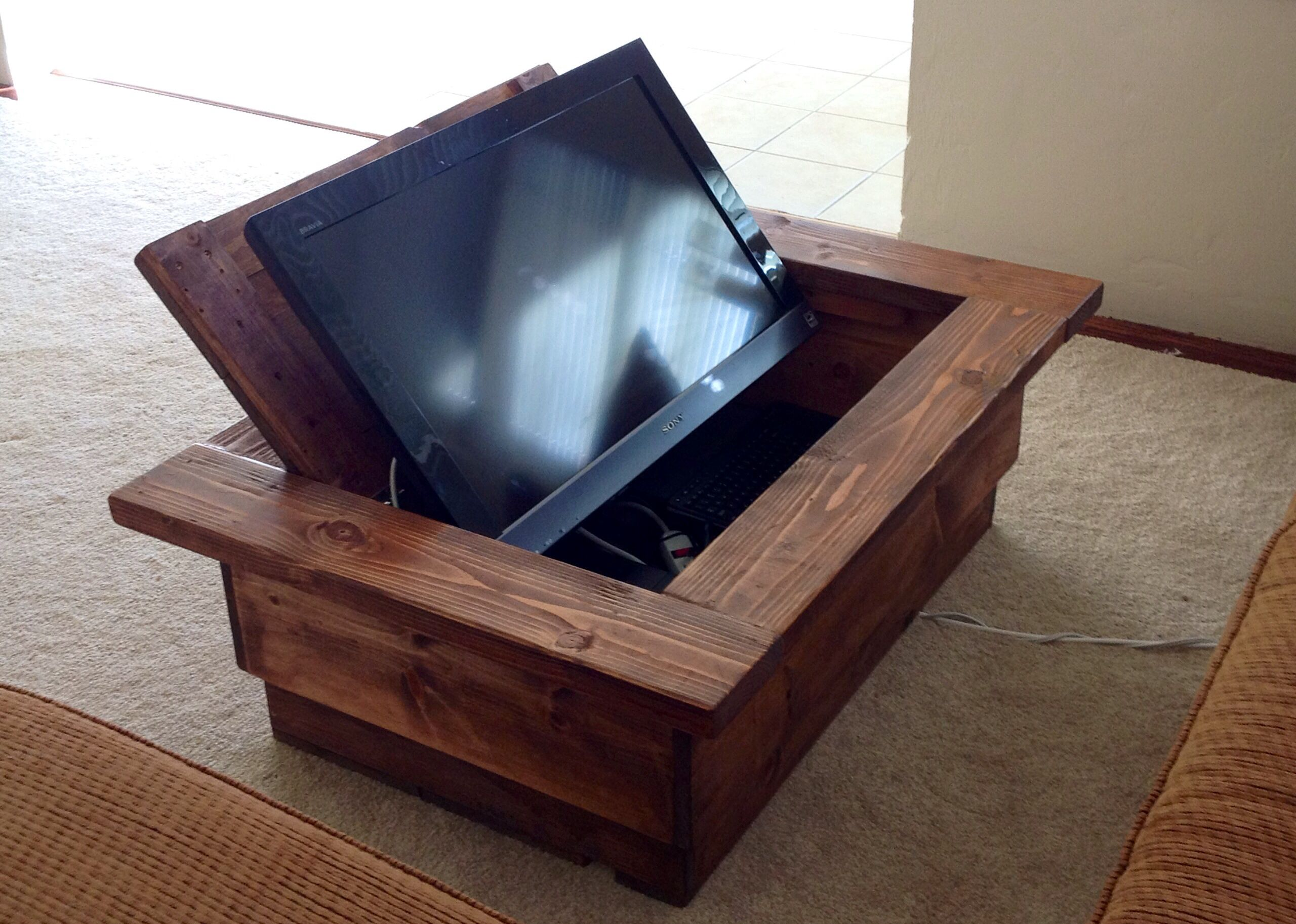 Hidden tv coffee table don 39 t have to have such a large tv to see and hear it wood projects Coffee table tv stand set
