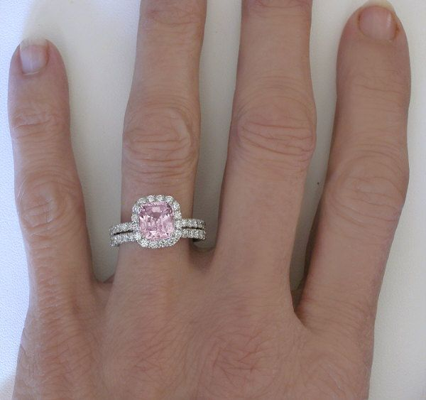 3 38 Carat Natural Unheated Cushion Cut Pink Shire Engagement Ring Set In 14k Gold