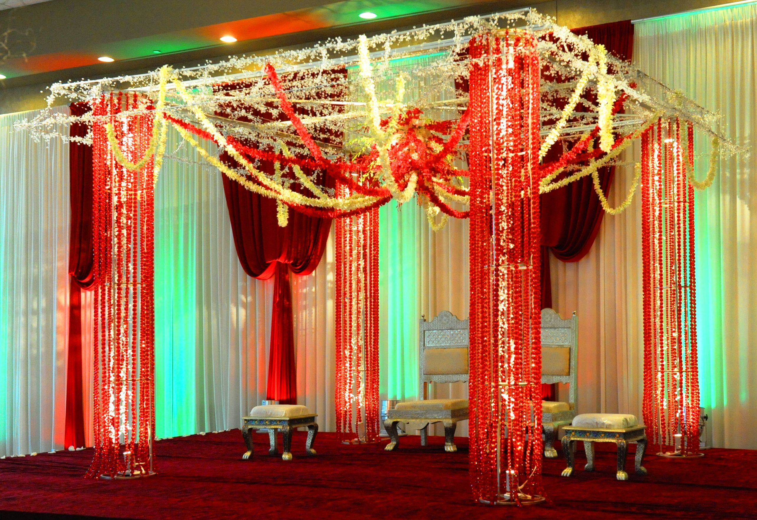 Exotic crystal Mandap with low hanging garland strands. #madap ... for Indian Hanging Decorations  587fsj