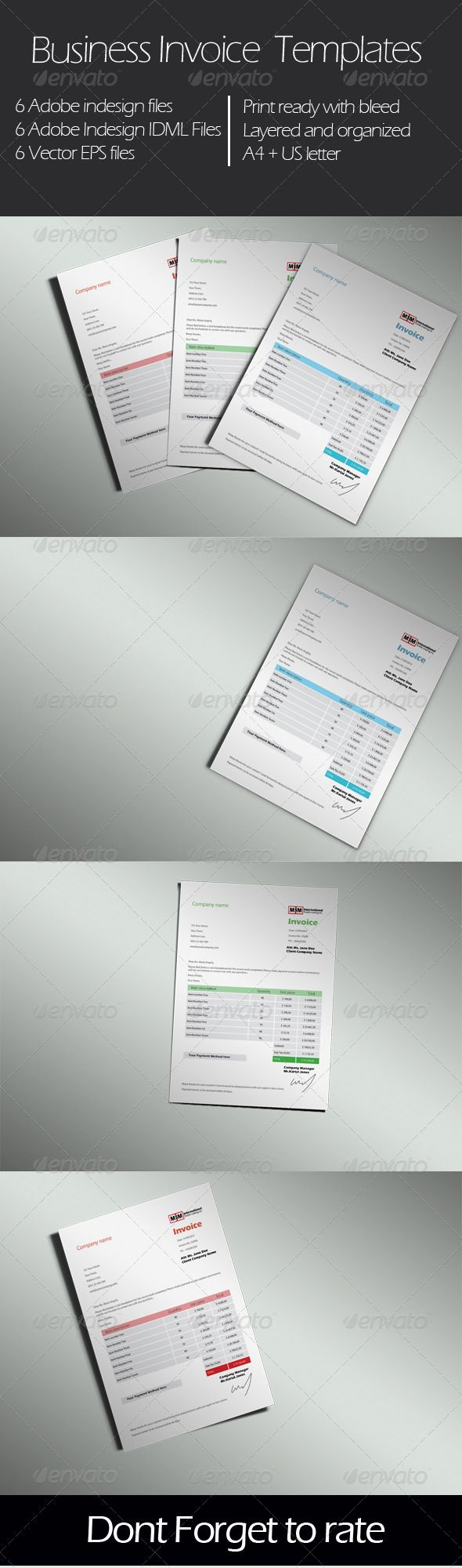 Business Invoice Templates by majinbuu Very clean and simple Invoice     Business Invoice Templates by majinbuu Very clean and simple Invoice  templates for your business come with 3 different colors  Features  6 Adobe  indesign