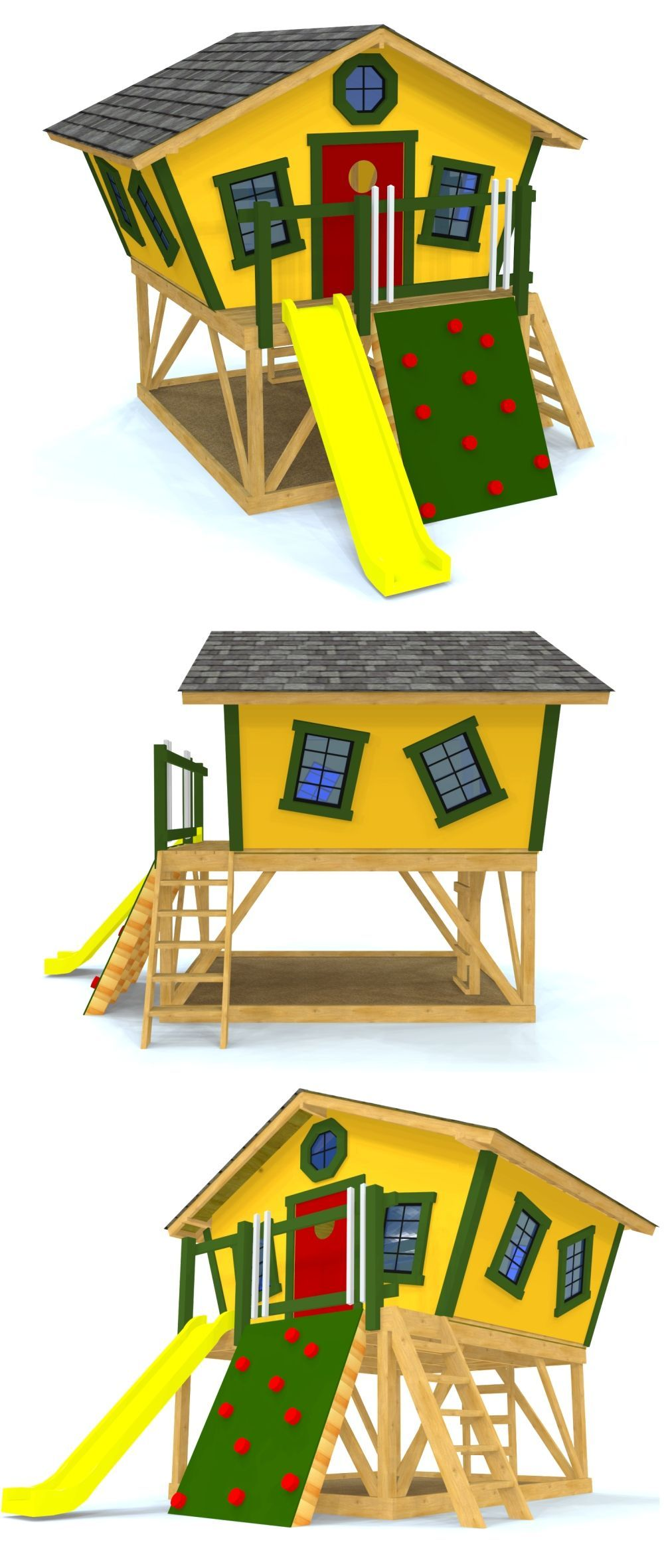 A groovy kid\'s clubhouse with slanted walls and windows, all top of ...