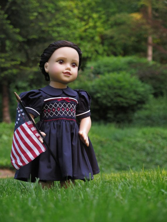 Patriotic Smocked 18 Inch Doll Dress - 18 Inch Doll July 4th Dress - Fits American Girl Dolls - Red, White, & Blue Doll Dress - Summer Dress