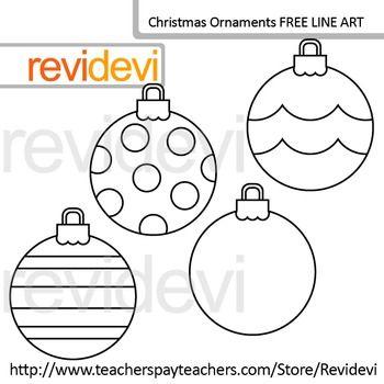 Free Line Art Coloring Clip Art Christmas Ornaments Set Of 4 Christmas Ornament Sets Clip Art Freebies Clip Art