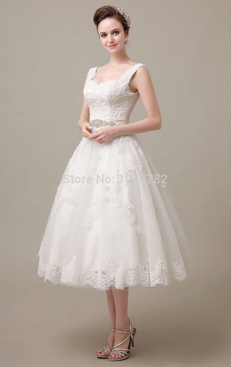 Elegant short wedding dresses  CustomElegantLaceMidCalfLaceShortWeddingDressReception