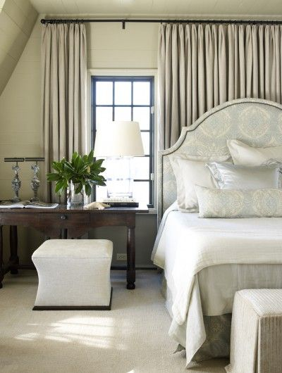 Drapery wall behind bed Window Treatments Pinterest Bedrooms