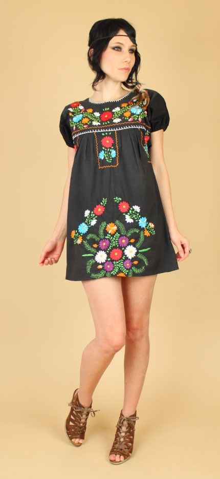 Floral Mexican Embroidered  Dress