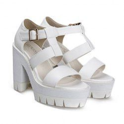 Fashion Women's Sandals With Chunky Heel and T-Strap Design