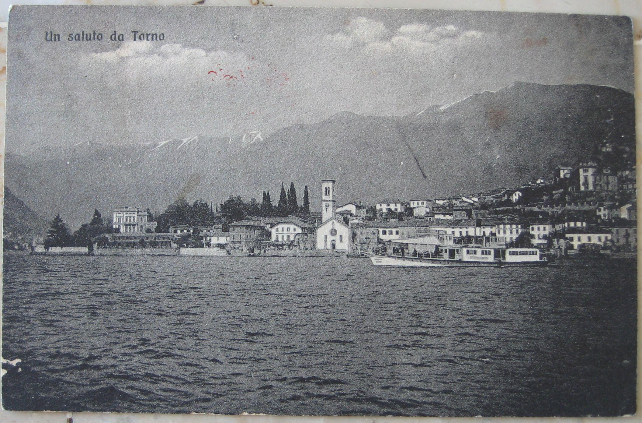 1917 Un Saluto da Torno n° 345 - R.E.V. - Como cartolina con francobollo Italia da 5 cent.