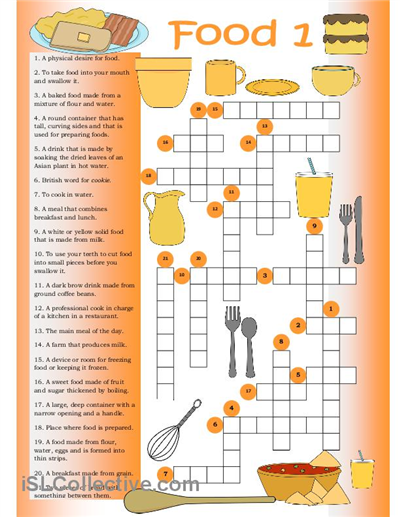 Crossword Food 1 English Teaching Materials Crossword English Vocabulary