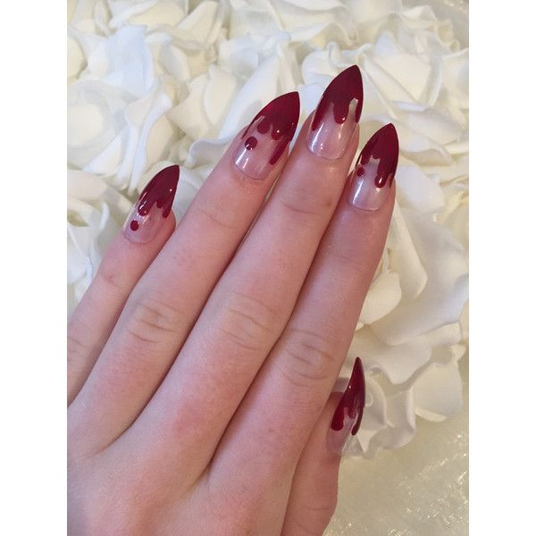 Halloween clear stiletto nails with blood drips ($17